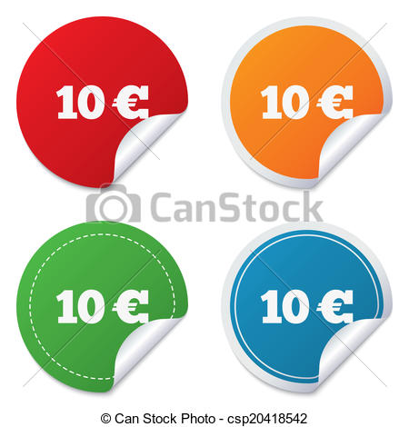 EPS Vector of 10 Euro sign icon. EUR currency symbol. Money label.