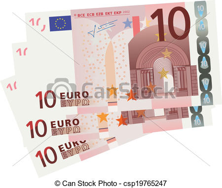 EPS Vector of 10 Euro bills.