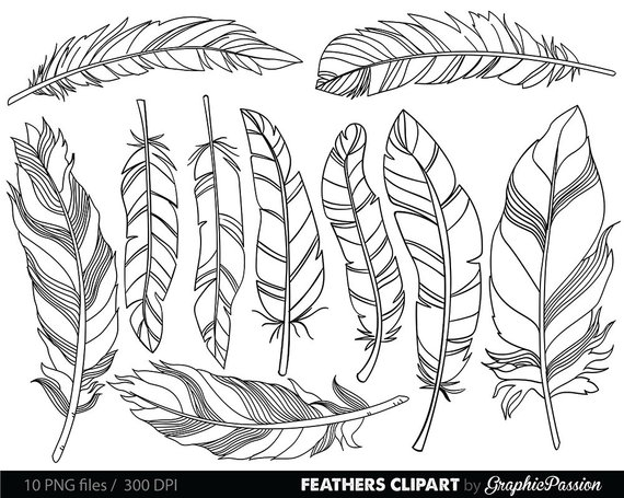 Feather Clipart Clip Art Vectors, Tribal Feather Drawings.