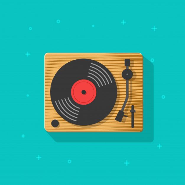 Vinyl record player vector illustration flat cartoon clipart.