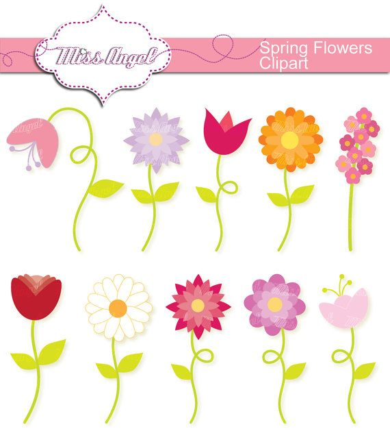 Spring Flowers CLIPART SET, 10 Digital Flowers. 6\
