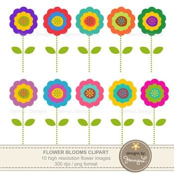 FREE: Colorful Flower Cliparts.