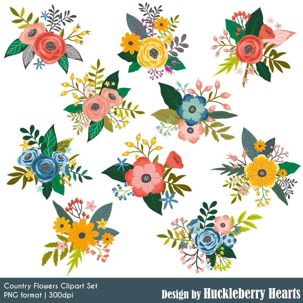 Country Flowers Clipart.