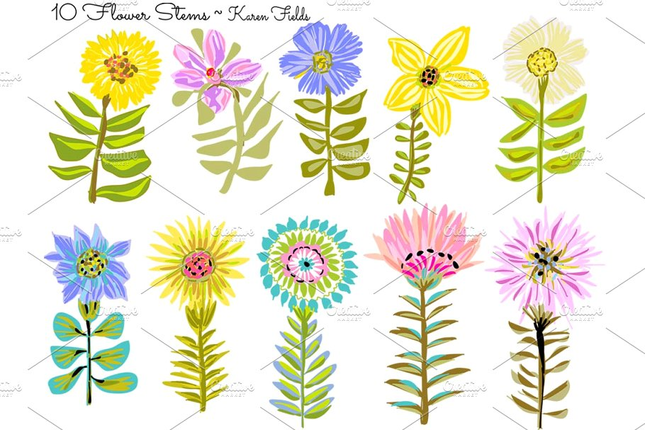 10 Flower Stems by Karen Fields.