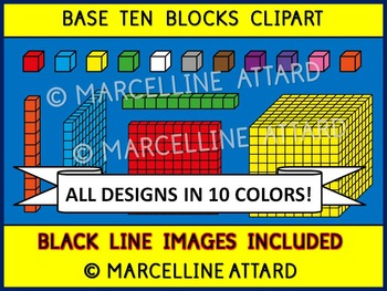 Base ten blocks clipart in 10 colors (place value clip art.