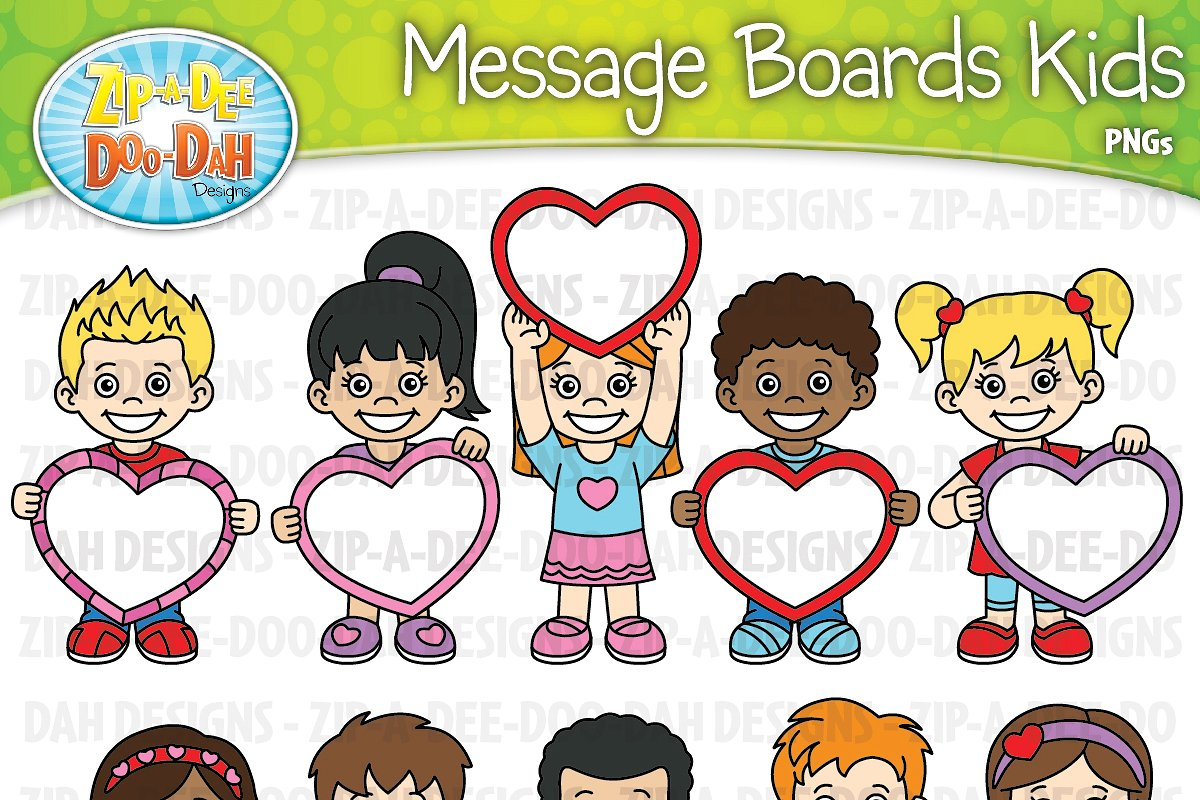 VDay Message Board Kids Clipart Set.