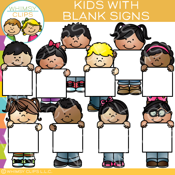 Kids with Blank Signs Clip Art.
