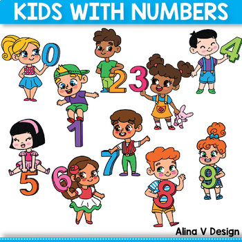 Number Kids, Kids Holding Numbers Clipart 0 to 10.