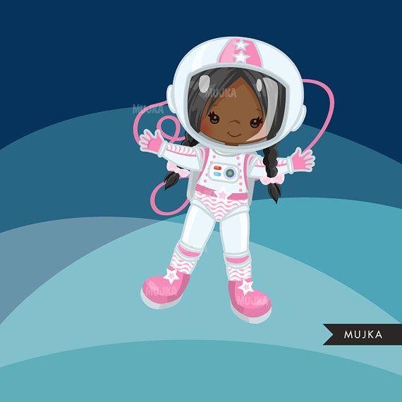 Astronaut Clipart. Little Girl Graphics, space, rocket.