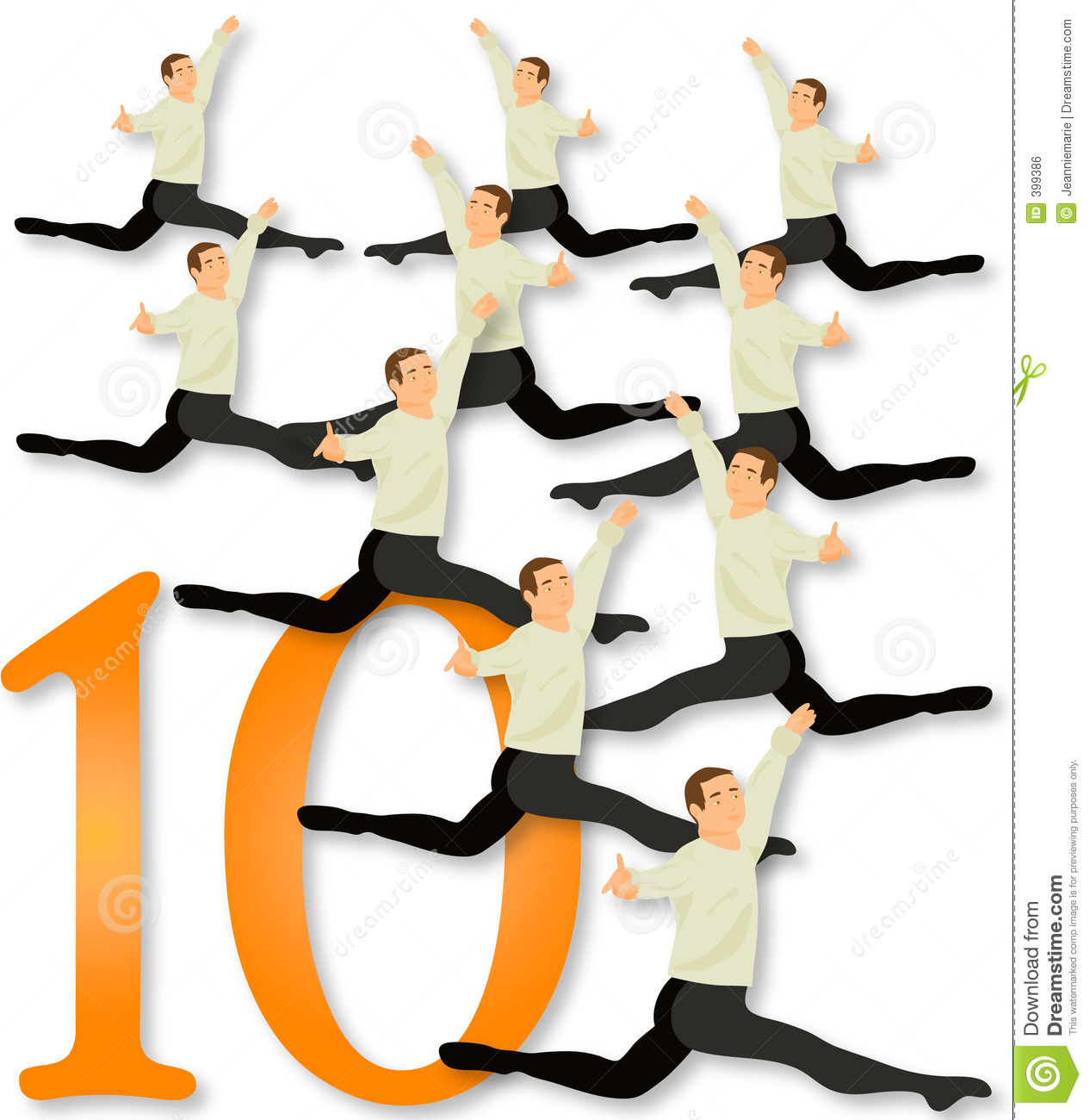 12 Days Of Christmas: 10 Lords A Leaping Stock Illustration.