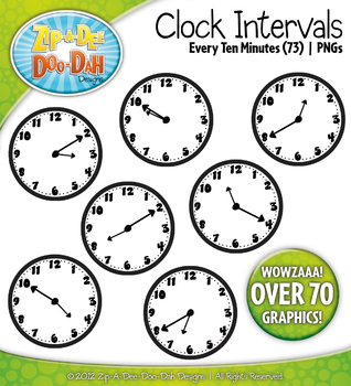 Clock Face Every 10 Minutes Intervals Clipart {Zip.