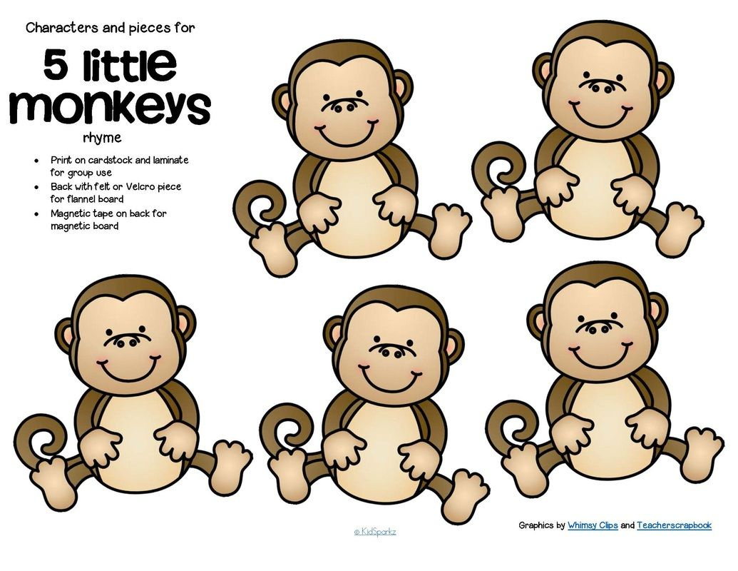 FREE*** Characters and pieces for 5 Little Monkeys Jumping.