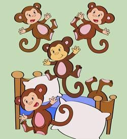 Monkeys Jumping On The Bed Clipart.