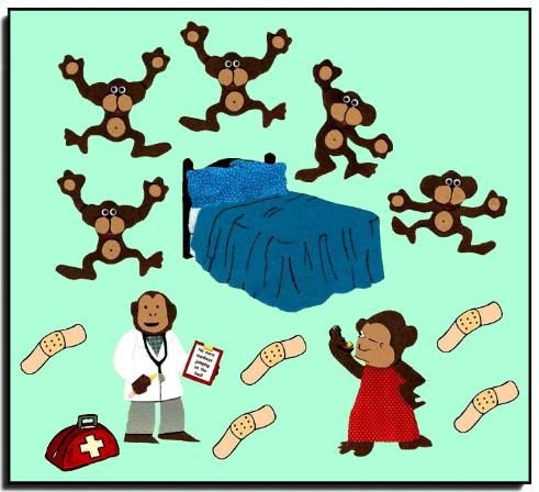 5 Little Monkeys Jumping On The Bed Clipart.