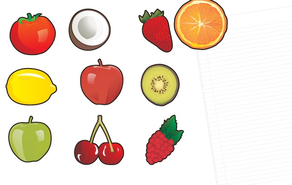 10 Fruit Fridge Magnets! Clipart Graphic.
