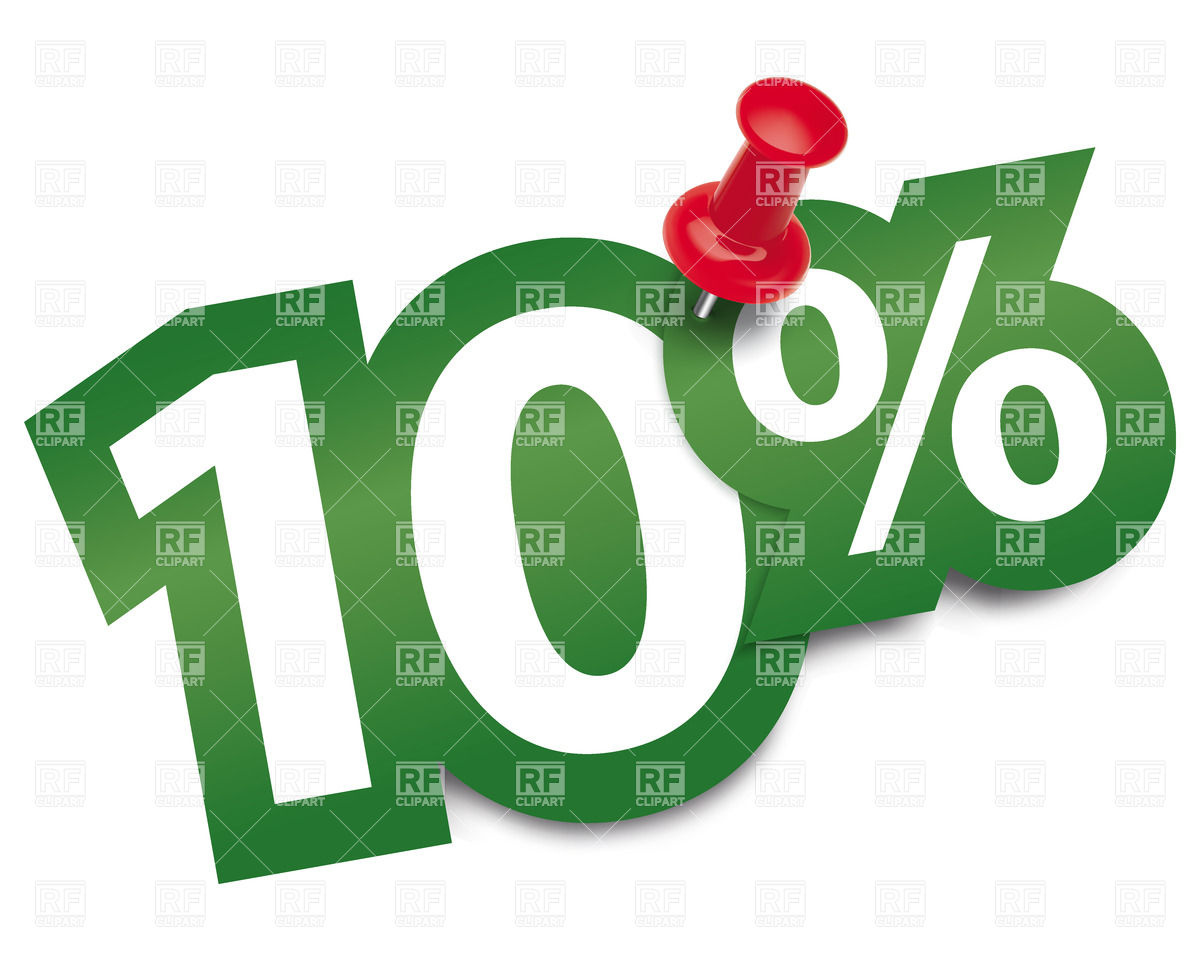 Ten percent sticker fixed by thumbtack Vector Image #27728.
