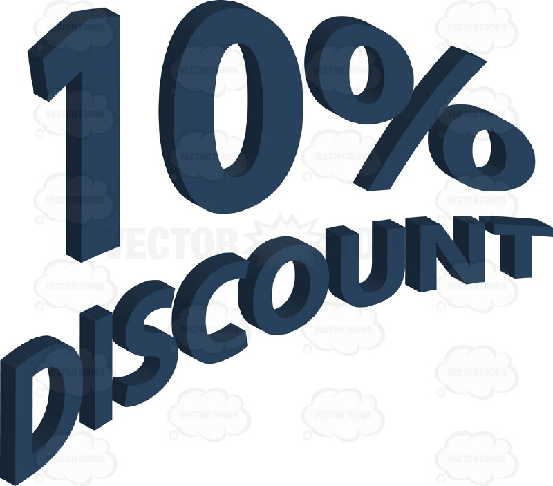 10 Percent Discount 3d Curved Words In Blue Cartoon Clipart.