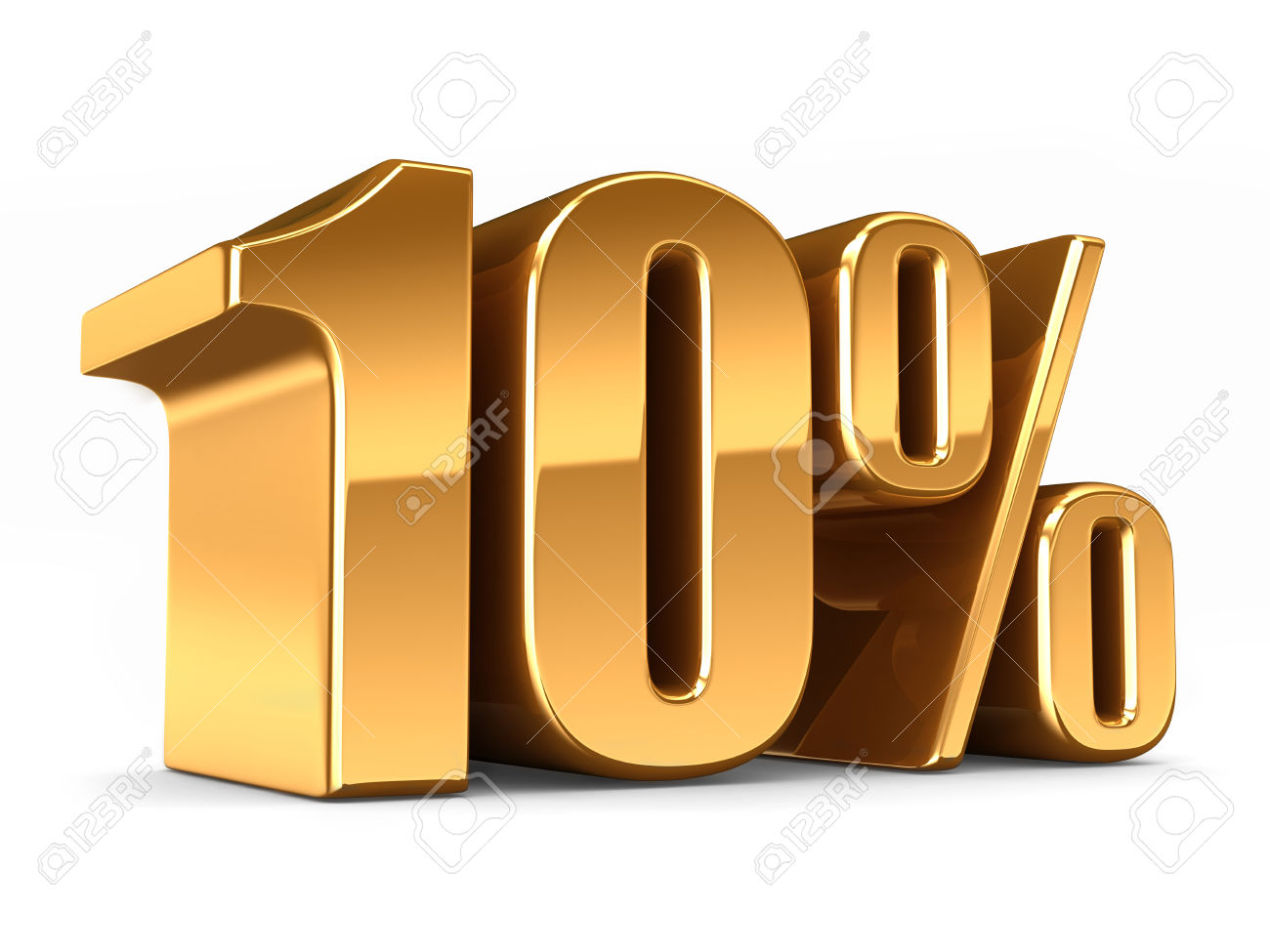 3d Render Of A Gold 10 Percent Stock Photo, Picture And Royalty.