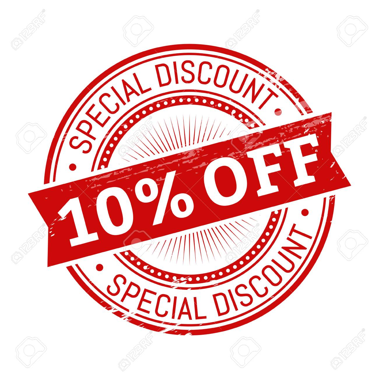 10 Percent Off Text, Red Color Round Stamper Illustration Royalty.