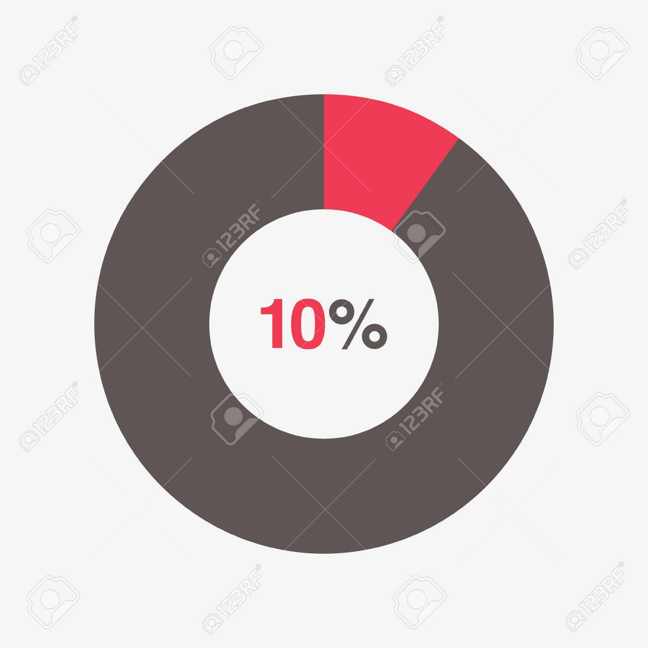 Icon Red And Black Chart 10 Percent, Pie Chart Vector Royalty Free.