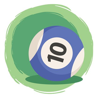 Billiard Ball Number 10 Blue Clipart Image.