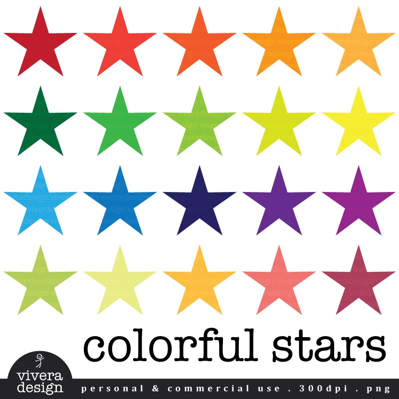 Colorful stars clipart 3 » Clipart Station.