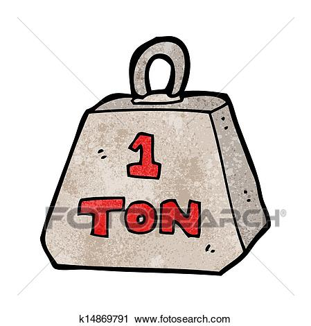 Clipart of cartoon one ton weight k14869791.