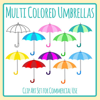 Umbrellas Clip Art Set for Commercial Use.