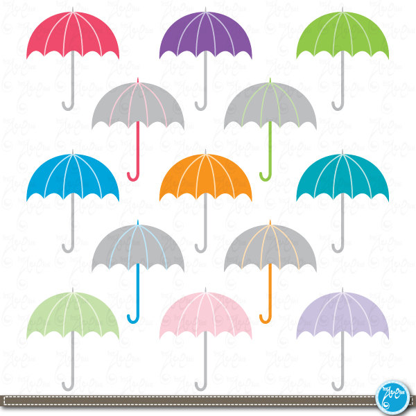 Rainbow umbrella clip art.