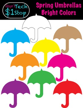 Spring * Umbrella Clipart * Rainy Days.