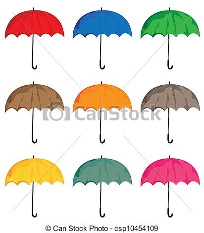 Set of umbrellas. Vector isolated on white background objects..