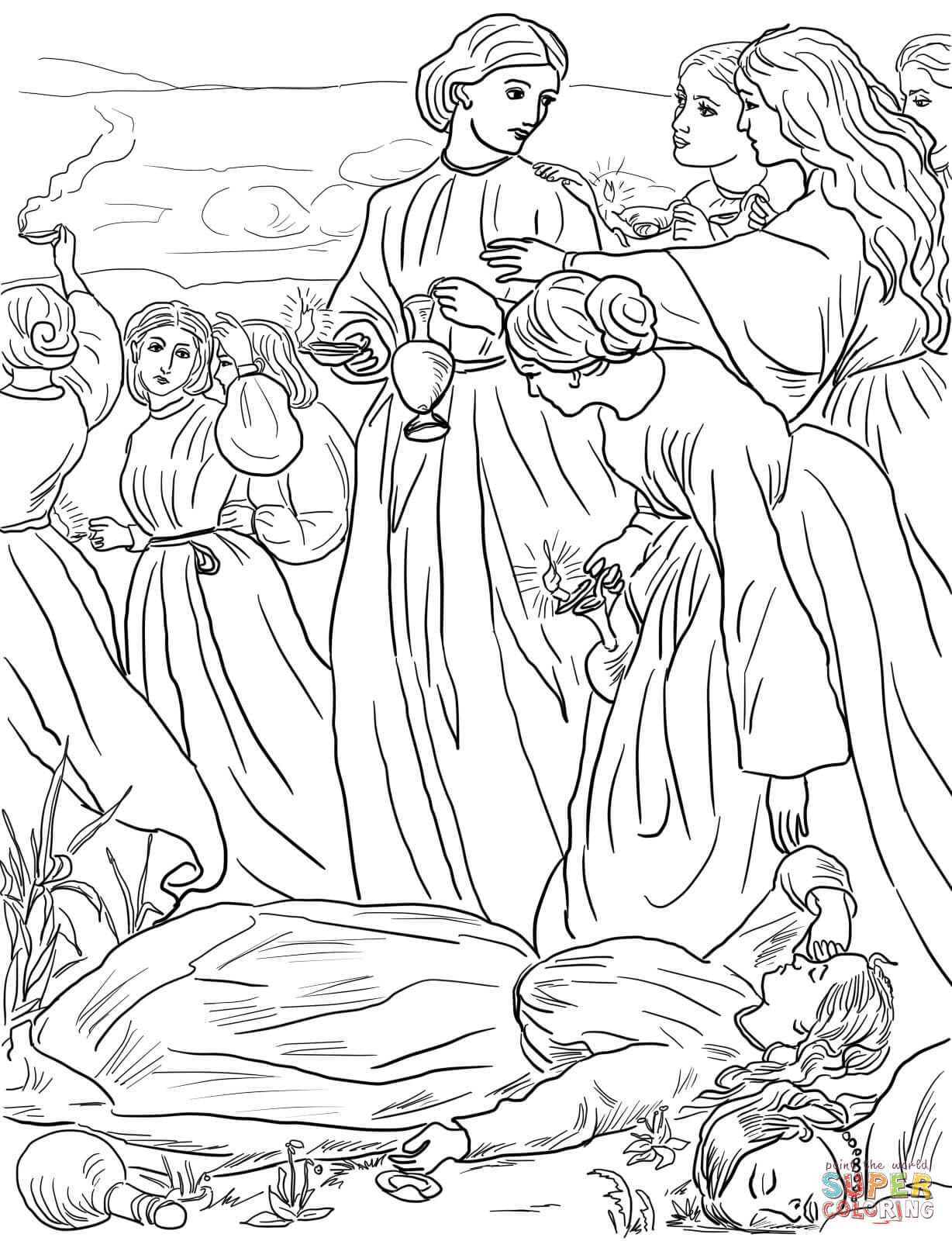Ten Virgins Parable coloring page.