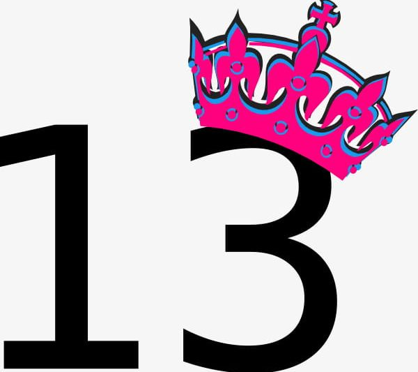 Digital 13 Points Pink Crown PNG, Clipart, 13 Clipart, 13.