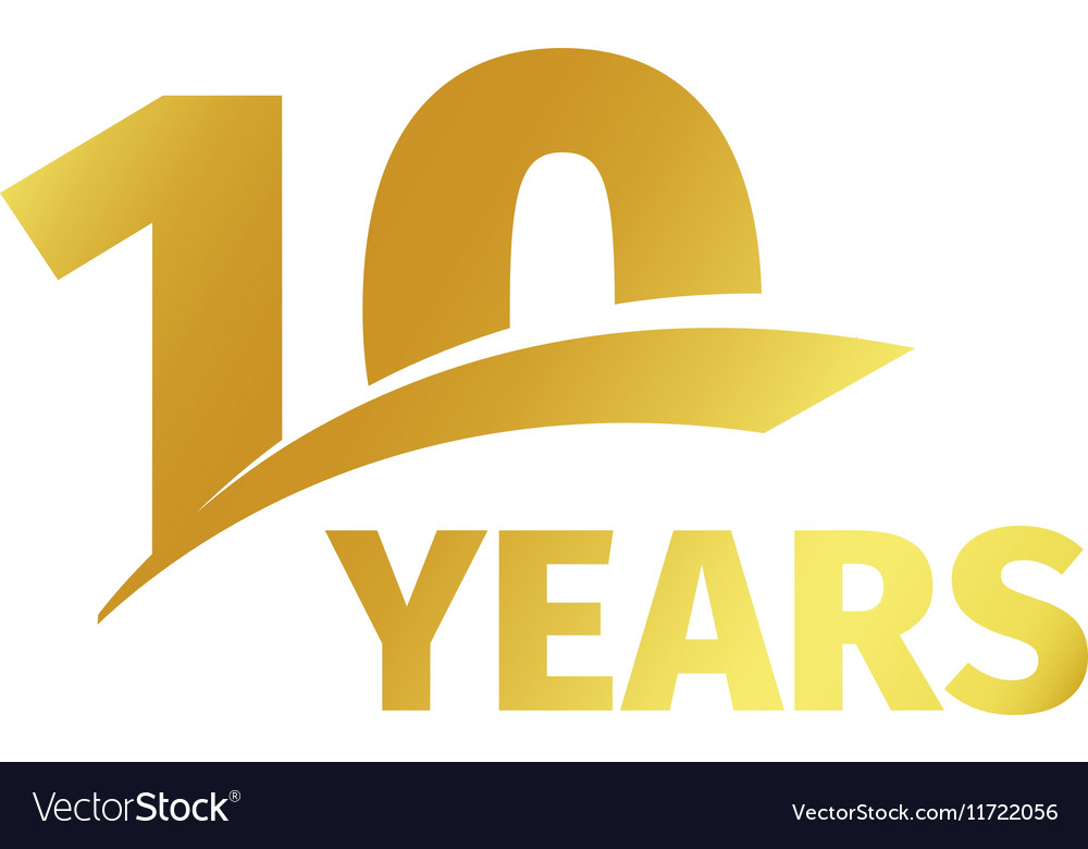 Isolated abstract golden 10th anniversary logo on.