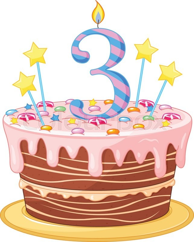 Birthday Cake With 2 Candles Clipart.