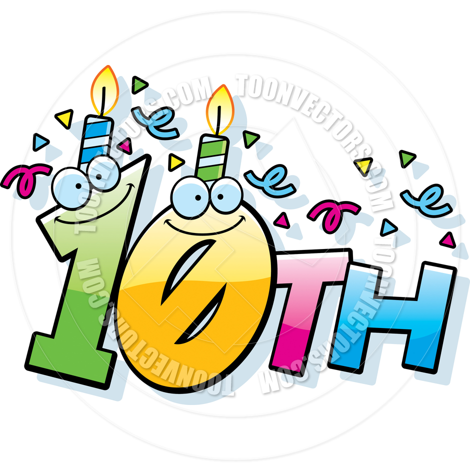 Happy 10th Birthday Clipart.