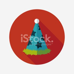 birthday party hat flat icon with long shadow,eps10 Clipart.