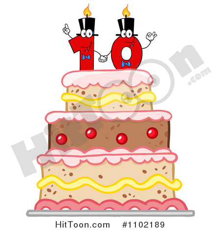 Ten Clipart #1102189: Red One and Zero Candles Forming a Ten.