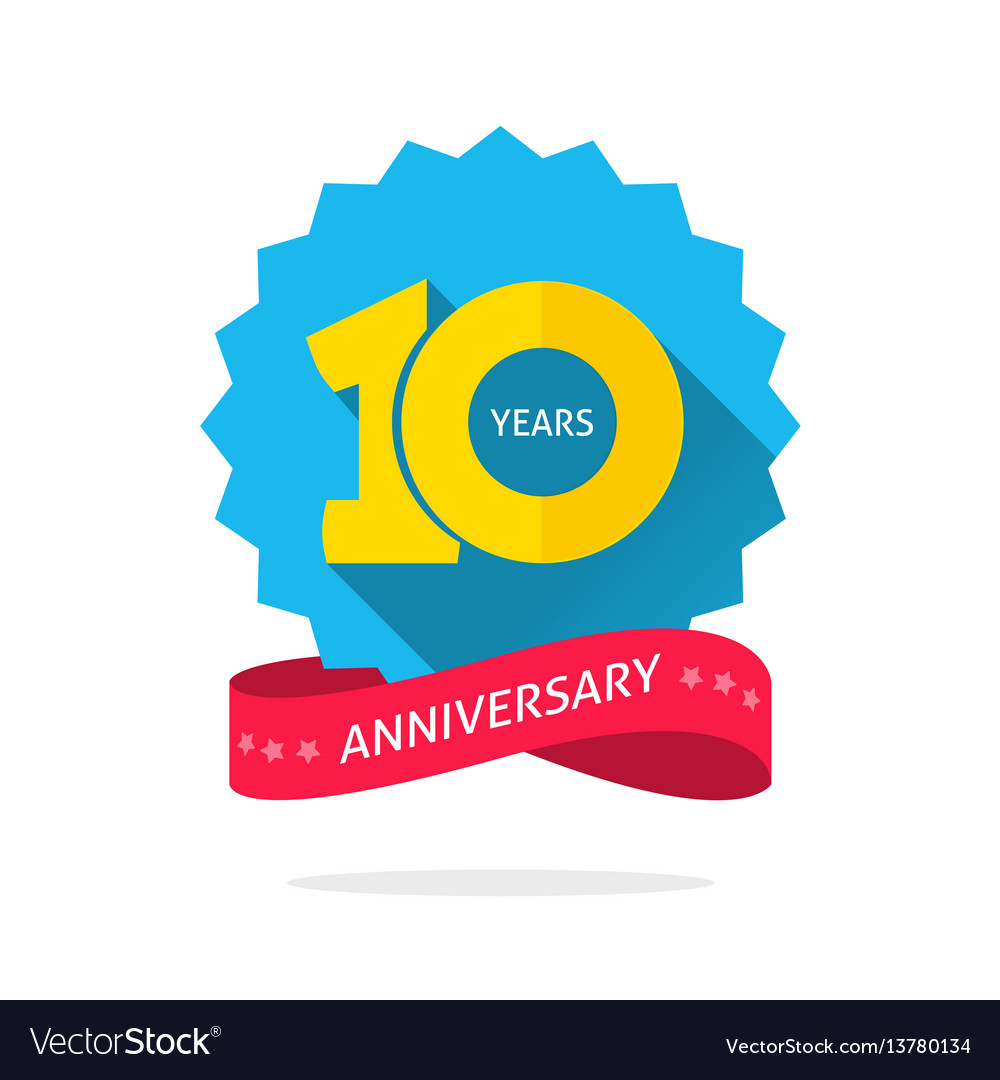 10 years anniversary logo template with shadow on.