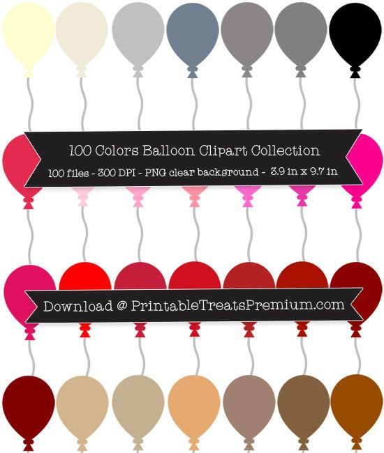100 Colors Balloon Clipart Collection.