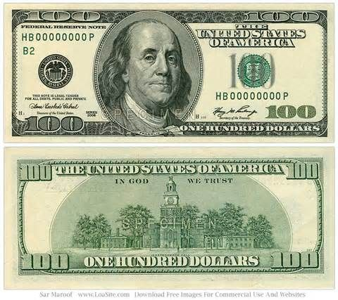 New 100 Dollar Bill Clipart picture black and white download.