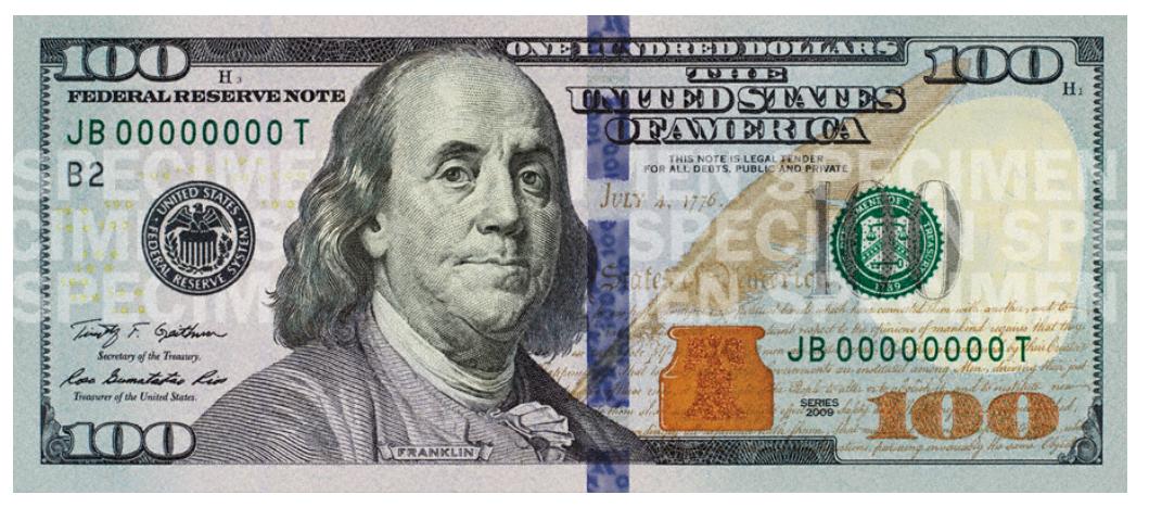 Benjamin Franklin United States one hundred.