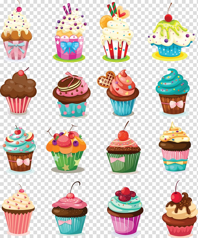 Sixteen cupcake lot illustration, Cupcake Birthday cake.