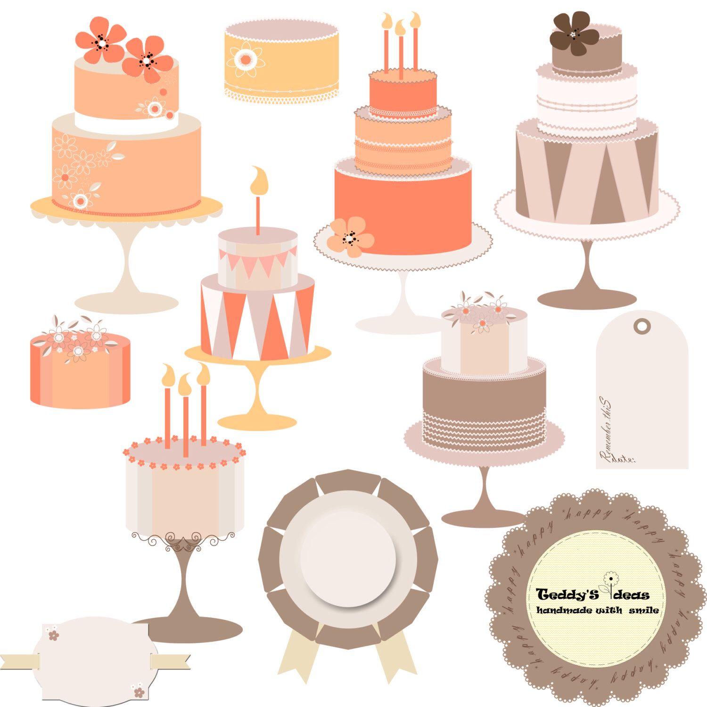 Clipart cakes, clip art cake, digital cake #clipartcakes.