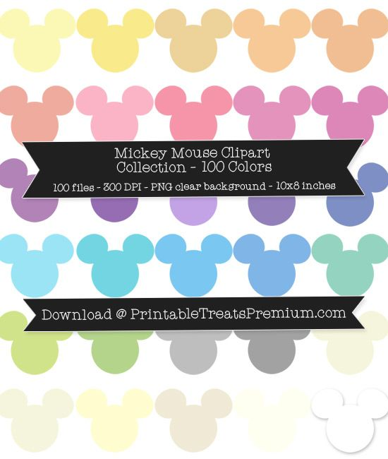 100 Colors Mickey Mouse Head Clipart Download.