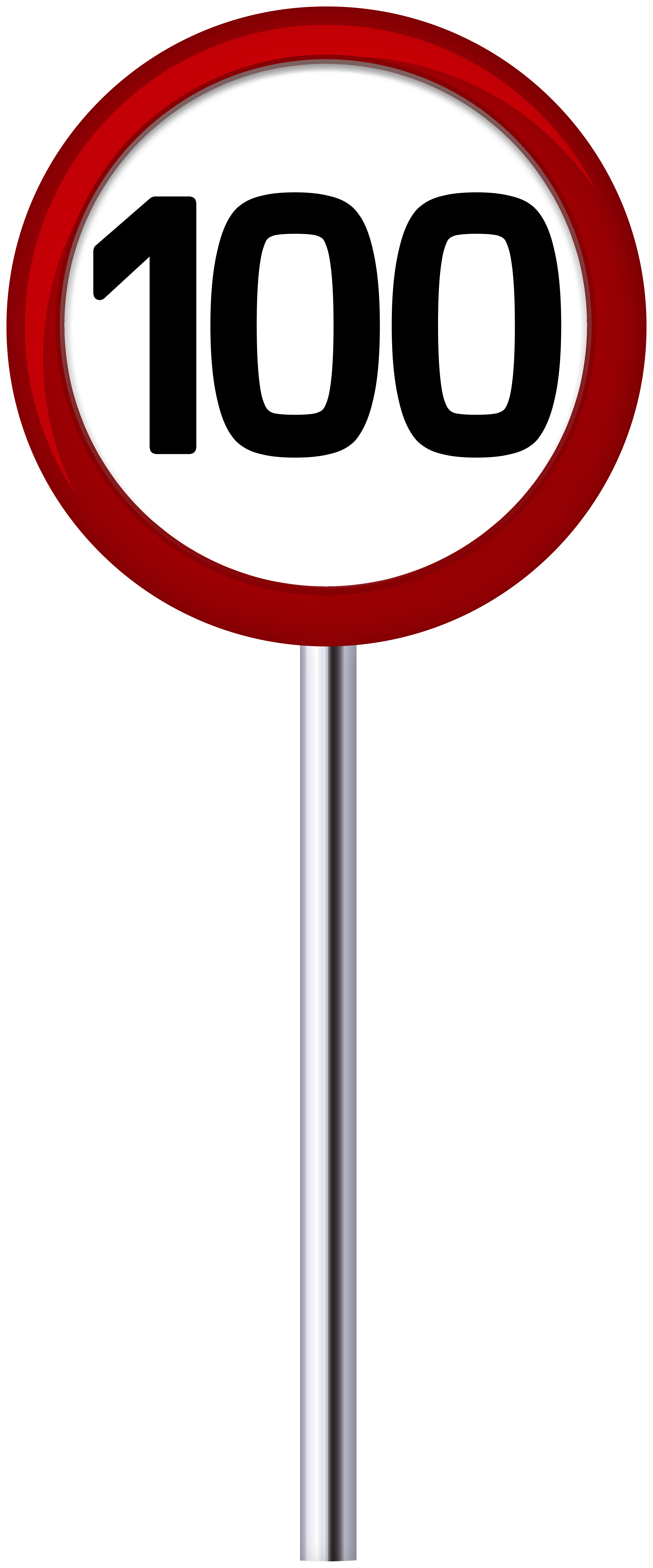 Traffic Sign Speed Limit 100 PNG Clip Art.