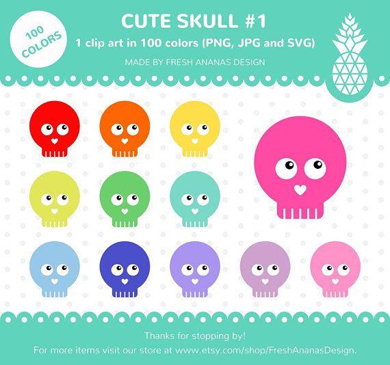 100 Colors Clip Art: Cute Skull #1, Skull Clipart, Halloween.