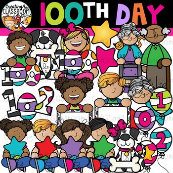 100th Day of School Clipart {100 Days of School Clipart}.