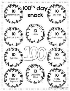 100 Day Snack Clipart.