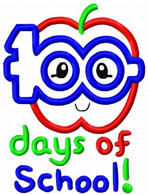 100 days of school apple with glasses appliqué Embroidery Design.